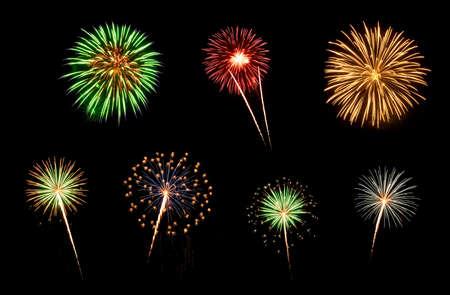 Kleurrijk assortiment vuurwerk selectie op een zwarte achtergrond Stockfoto