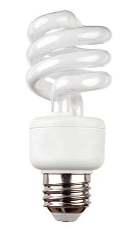 Energiebesparing fluorescerende lamp geà ¯ soleerd op een witte achtergrond