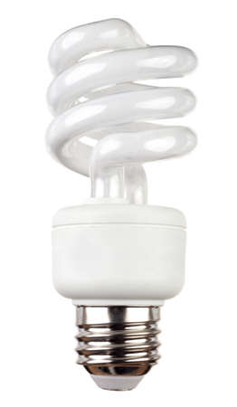 Energy saving fluorescent light bulb isolated on a white background Фото со стока
