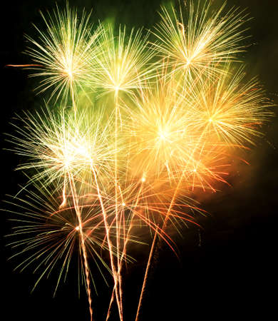 colorful light display: Fireworks in the night sky Stock Photo