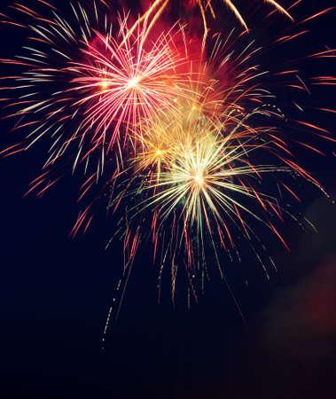 Vuurwerk in de nachtelijke hemel Stockfoto