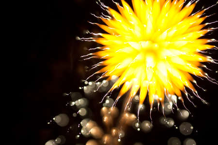 Abstract Fireworks in the Night Sky Stock Photo