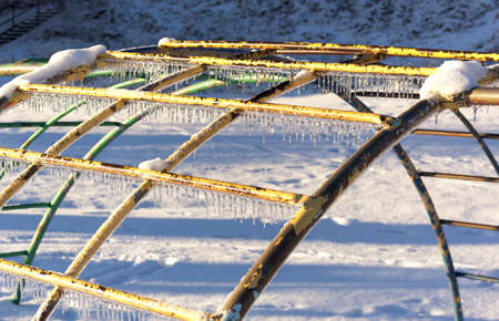 Ice covered monkey bars after an extreme icestorm.