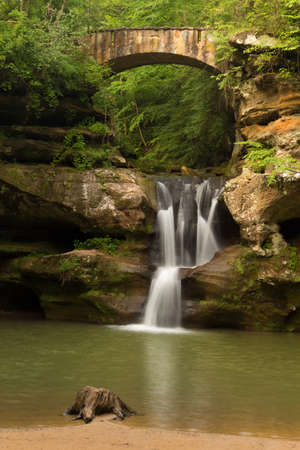 Upper Falls at Old Mans Cave, Hocking Hills State Park, Ohio. Stock Photo