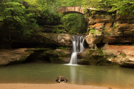 on the hill: Upper Falls at Old Mans Cave, Hocking Hills State Park, Ohio. Stock Photo