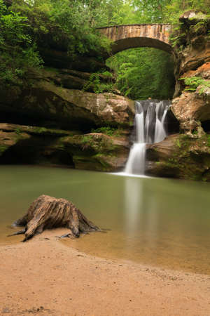 natural bridge state park: Upper Falls at Old Mans Cave, Hocking Hills State Park, Ohio. Stock Photo