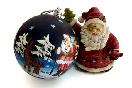 santa with a christmas ball photo