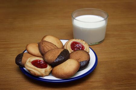 some butter cookies and milk glass photo