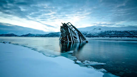 ship wreck: A ship wreck in the frozen waters Stock Photo