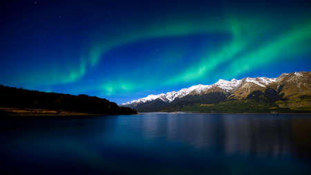 northern light: Aurora borealis above the lake