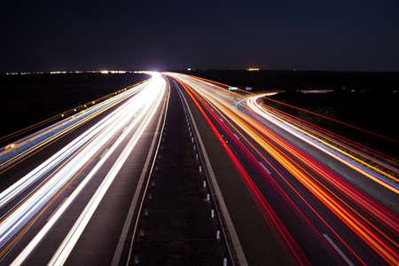 Highway car light trails scene