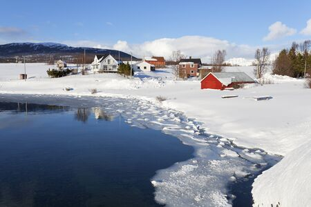 Beautiful snowy landscape. Thaw in the Arctic Circle, Lapland.