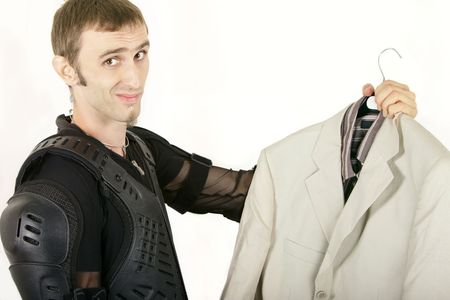 biker not considering a suit as his new style Stock Photo
