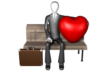 3d illustration of businessman sitting alone on a bench with a huge heart next to him front view isolated on white background illustration