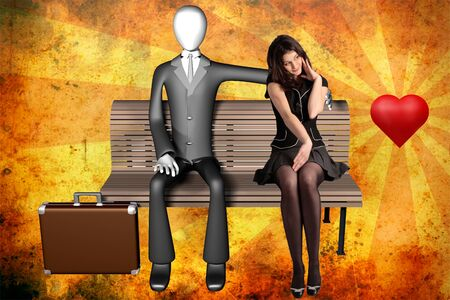 3d illustration of businessman sitting alone on a bench with a shy girl next to him and heart on vintage background front view illustration