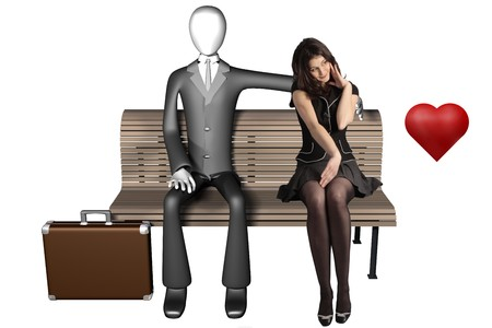 3d illustration of businessman sitting alone on a bench with a shy girl next to him and heart isolated on white background front view illustration