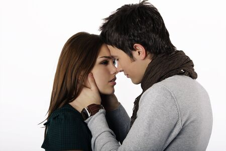 attractive couple passionately in love looking into each others eyes Stock Photo