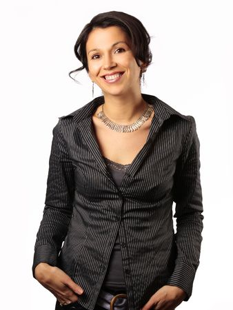 lovely women: smiling hispanic business woman isolated on white Stock Photo