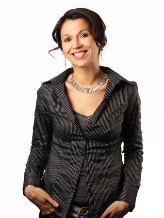 smiling hispanic business woman isolated on white photo