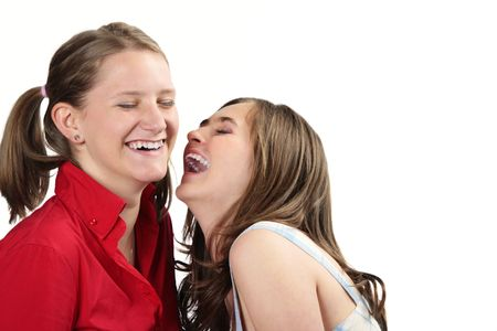 Girls laughing out loud isolated on white background