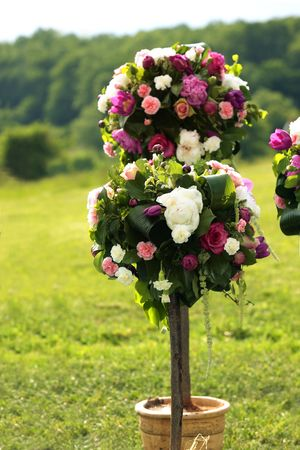 Beautiful Bouquets of peonies and flowers as wedding decorations in the green beautiful field of grass next to artistic white seats Stock Photo