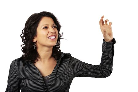 Latin Business Woman Reaching Out For Something In Front Of Her while making a cat alike sound isolated on white background