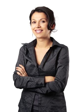 Composed Latin Business Woman Smiling isolated on white background