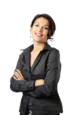 shirt unbuttoned: Composto da looking donna Business latino in front of her isolato su sfondo bianco Archivio Fotografico