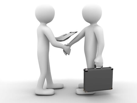 3d partners sealing a deal with a handshake