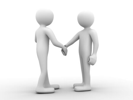 full body 3d people greeting each other with a handshake Stock Photo