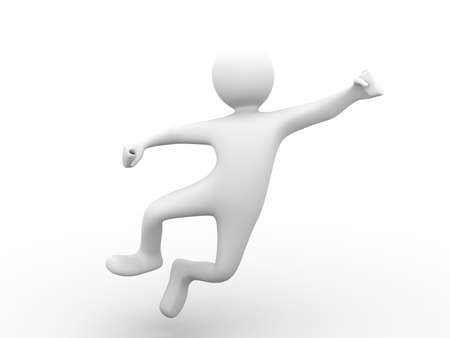 happy 3d person in midjump Stock Photo