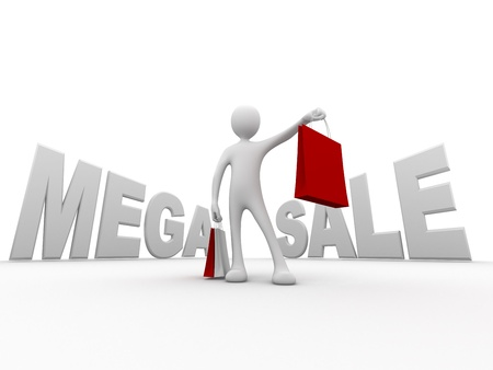 3d person holding shopping bags in front of large mega sale sign