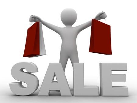 3d person holding shopping bags in front of large mega sale sign Stock Photo - 9504550