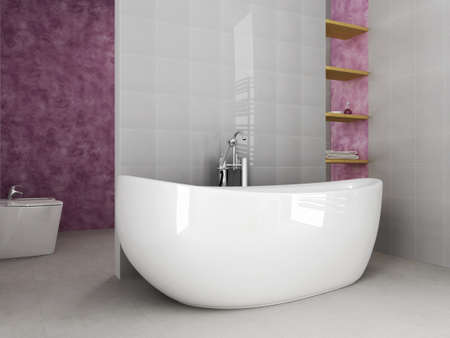 grey and purble modern bathroom