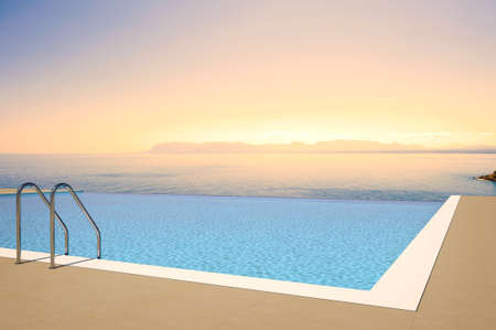 view of sunset from pool photo
