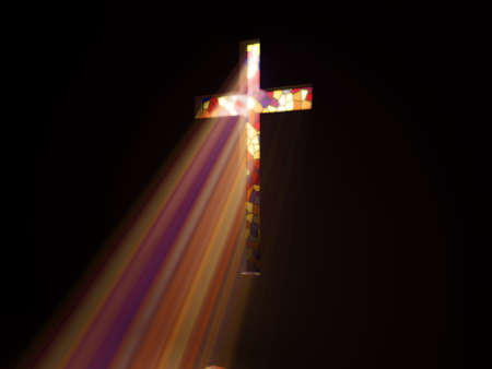 colored light through the cross photo