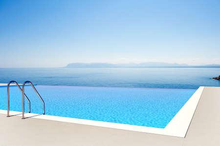pool water: dip in an endless horizon Stock Photo