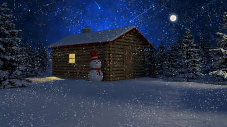 wooden house under a snowfall Stock Photo