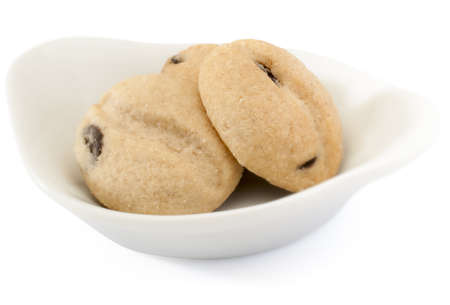 cookies in bowl, background white