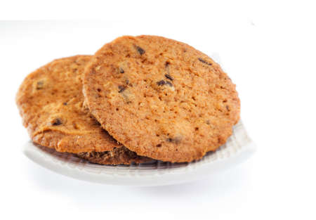 oatmeal cookies in white background