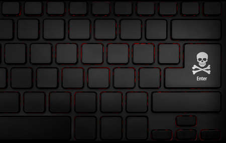 computer keyboard with hacker pirate icon