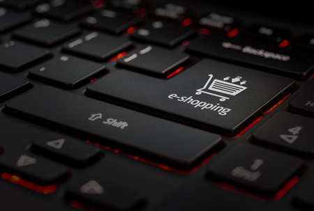black keyboard with eshopping icon key