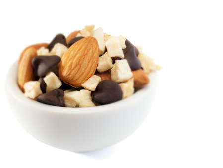 dry fruit mix in bowl, background white