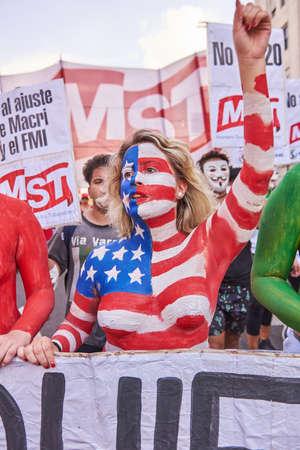Buenos Aires, CABA, Argentina - November 30, 2018: G20 summit protest street, Buenos Aires. Banco de Imagens - 116199017