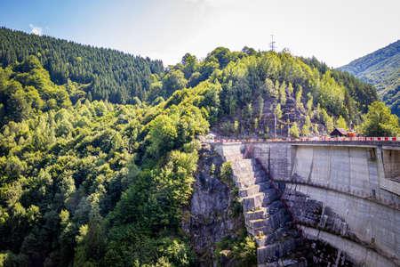 Lake and Oasa Dam Taul Bistra 1983, in Romania