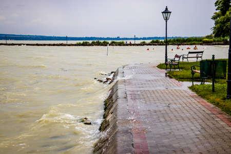 Stormy rippling water on a beach at Lake Balaton