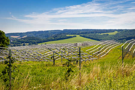 Solar park construction area on a hill