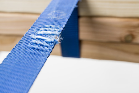 blue torn belt Stock Photo
