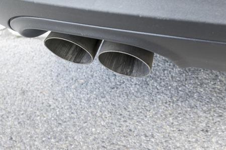 power: Closeup of a car exhaust. Double pipe from a diesel engine
