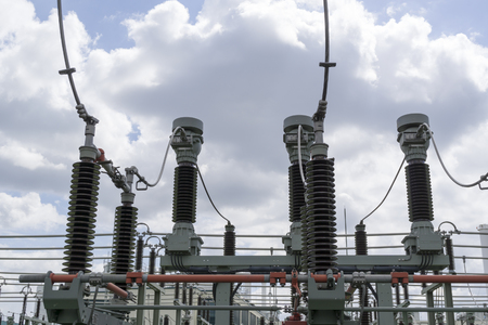 power: Part of high-voltage substation Stock Photo